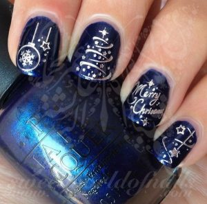 Silver Christmas Tree on Dark Blue Nails