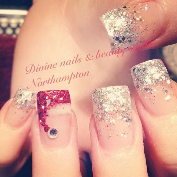 Silver French Manicure and Santa's Hat Nails #Christmas #nails #trendypins