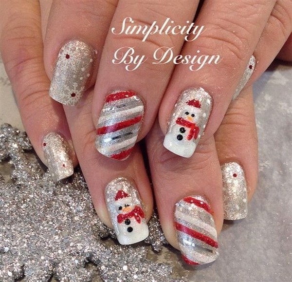 Silver Snowman and Striped Christmas Nails #Christmas #nails #trendypins