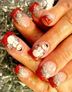 Snowman Christmas Nails on Red French Manicure Base