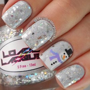 Sparkly Grey Manicure with Snowman