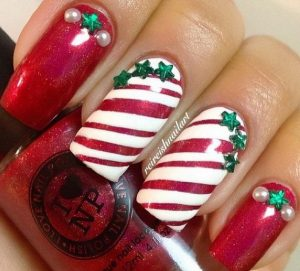 Striped Christmas Nails with Small Green Stars