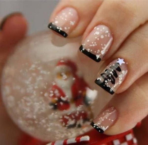 Transparent and Black French Manicure With Christmas Tree Design #Christmas #nails #trendypins