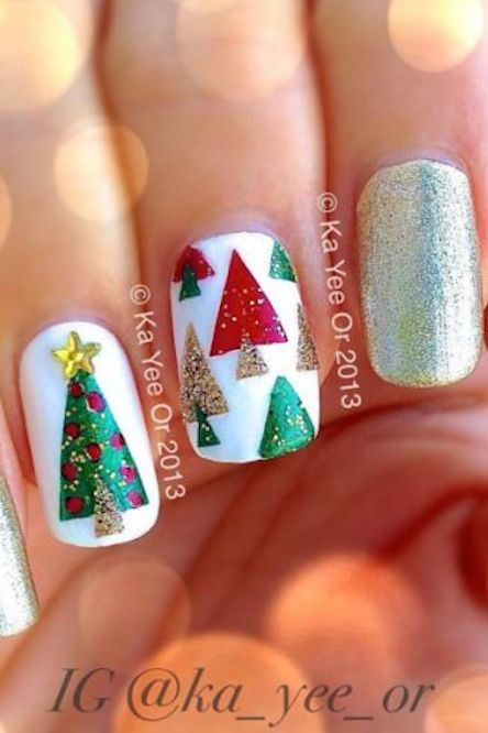 Triangular Christmas Trees #Christmas #nails #trendypins