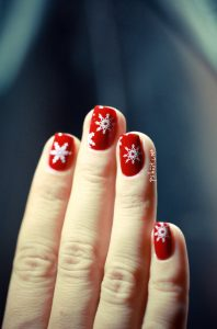 White Christmas Snowflake on Red Nails