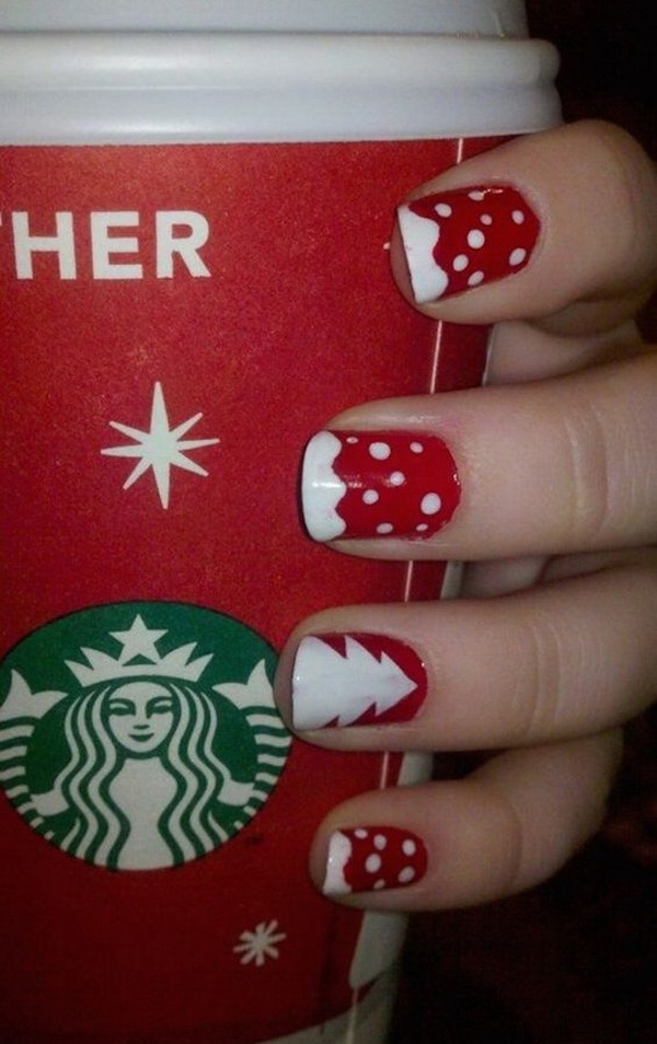 White Dotted on Red Base Christmas Nails #Christmas #nails #trendypins