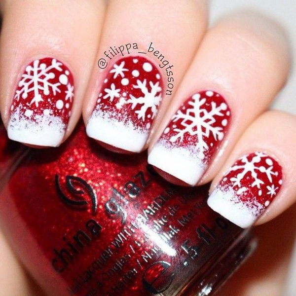 White-Snowflake-On-Red-Base-Christmas-Nails