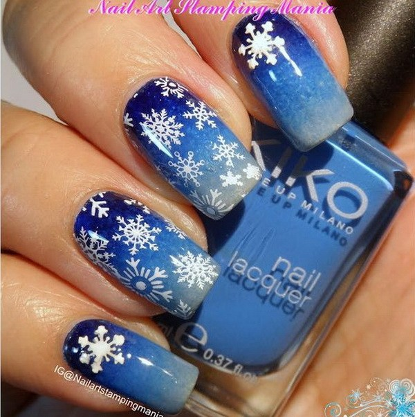 White Snowflakes on Blue Base Manicure #Christmas #nails #trendypins