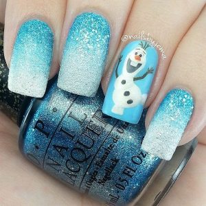 Winter Glitter Blue Christmas Nails with Olaf Design