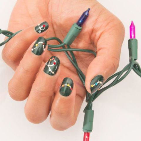 Green Base with String Christmas Lights #Christmas #nails #trendypins