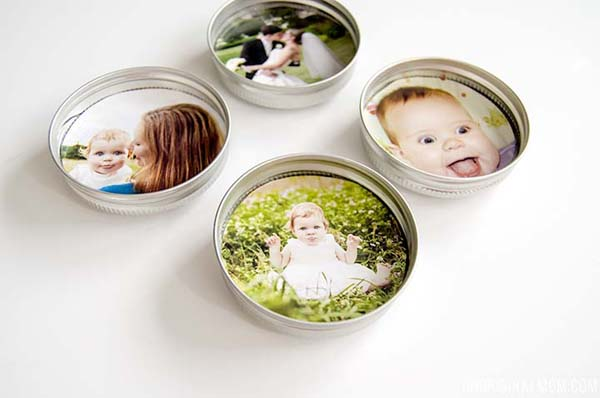 Upcycled Mason Jar Lid Magnets #DIY #Christmas #gifts #trendypins