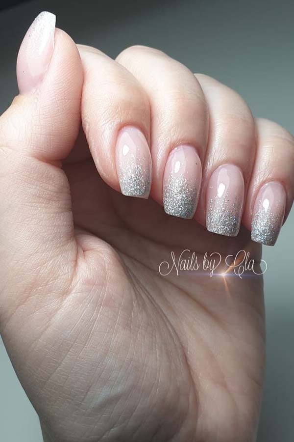 Silver Glittered French Christmas Manicure #Christmas #nails #trendypins