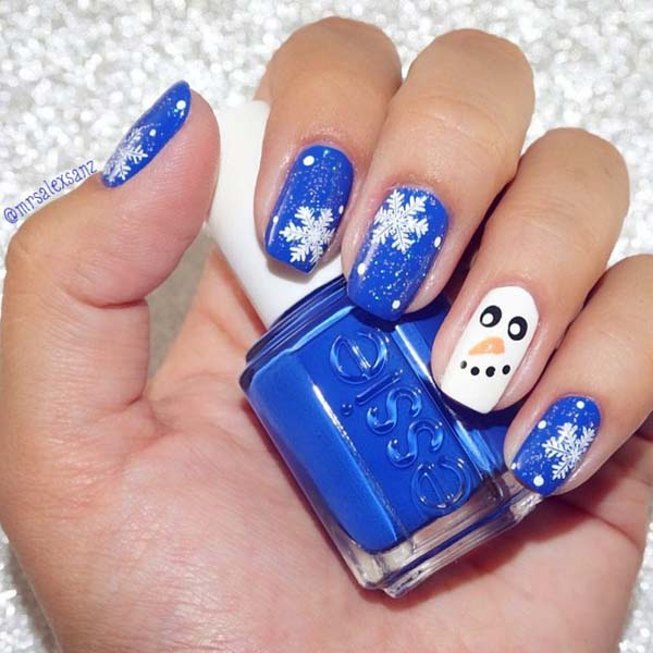Snowman and Snowflakes on Еssie Blue Base #Christmas #nails #trendypins