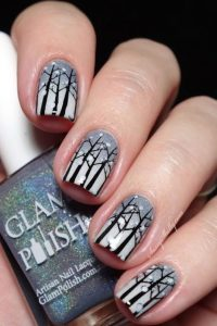 Snowy Forest Nails Gray Gradient with Tree Stamping