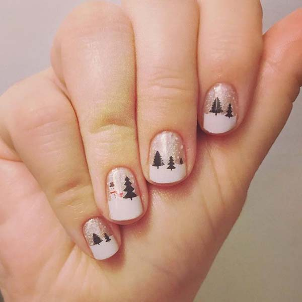 Trees and a Snowman on White French Manicure #Christmas #nails #trendypins