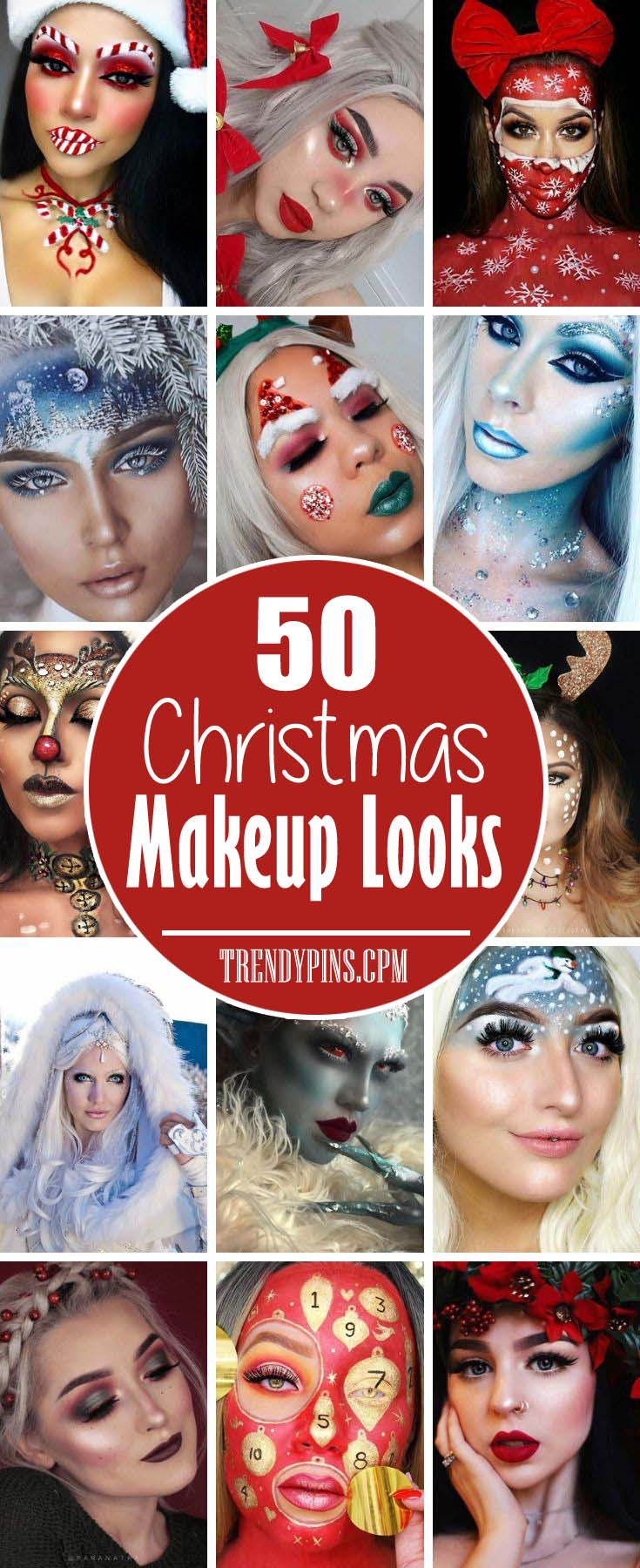 50 Christmas Makeup Looks to Try Out This Season #Christmas #makeup #beauty #trendypins
