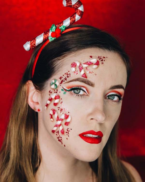 Candy Cane Christmas Look #Christmas #makeup #beauty #trendypins