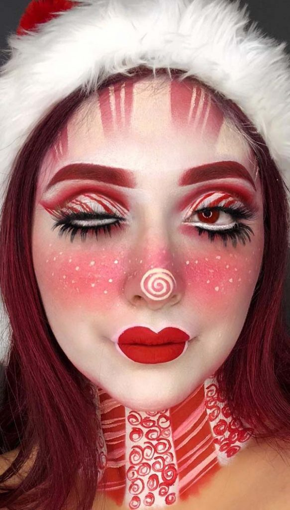Candy Cane Face Painting #Christmas #makeup #beauty #trendypins