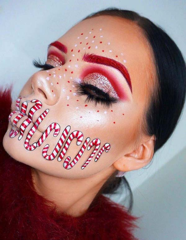 Candy Cane Face Painting and White Red Dotted Makeup #Christmas #makeup #beauty #trendypins