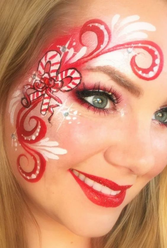 Candy Cane Ribbon Christmas Makeup Look #Christmas #makeup #beauty #trendypins