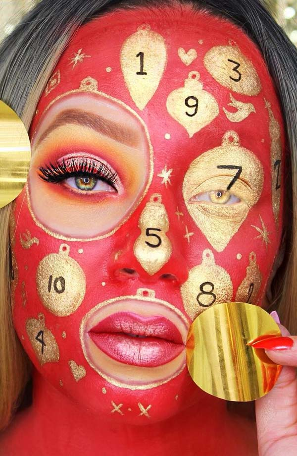 Christmas Face Painting with Gold and Red Colors #Christmas #makeup #beauty #trendypins