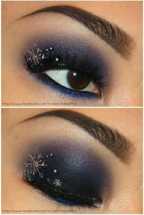 Dark Blue Eyeshadows and Silver Snowflakes #Christmas #makeup #beauty #trendypins