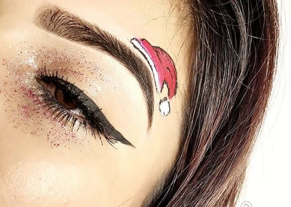 Glitter Eyeshadows, Santa's Hat on Eyebrow and Black Eyeliner #Christmas #makeup #beauty #trendypins