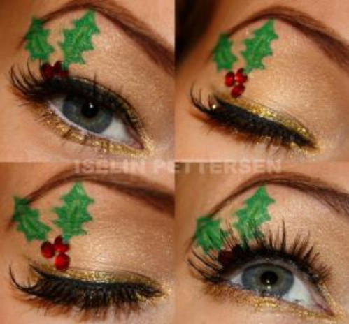 Gold Eyeliner and Christmas Leaves #Christmas #makeup #beauty #trendypins