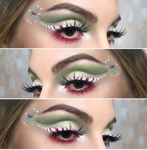 Red, Green, Peppermint and Holly Christmas Makeup #Christmas #makeup #beauty #trendypins