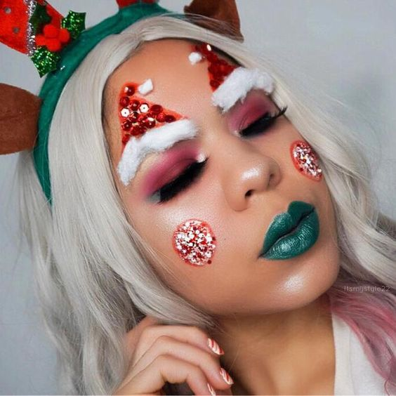 Santa's Hat and Pearls Christmas Makeup Look #Christmas #makeup #beauty #trendypins