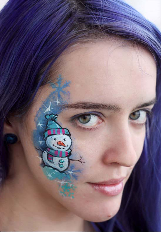 Snowman Face Painting #Christmas #makeup #beauty #trendypins