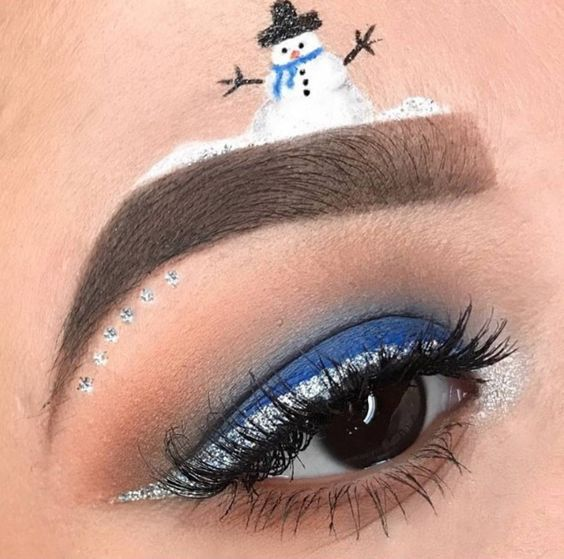 Snowman on an Eyebrow and Silver Eyeliner #Christmas #makeup #beauty #trendypins