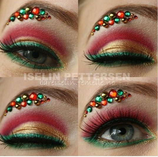 Sparkly Christmas Green and Red Colored Rhinestones Makeup #Christmas #makeup #beauty #trendypins