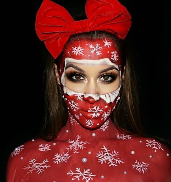 White Pearls, Snowflakes and Red Ribbon Christmas Makeup Look #Christmas #makeup #beauty #trendypins
