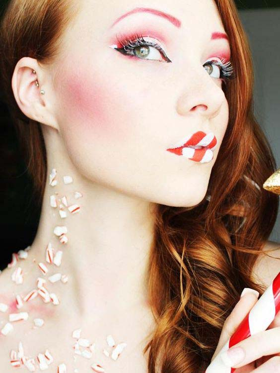 Candy Cane Eye and Lips Christmas Makeup #Christmas #makeup #beauty #trendypins