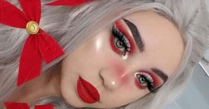 Christmas Makeup Look With Red Ribbons
