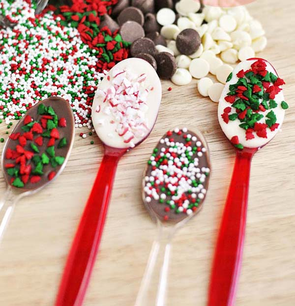 Hot Chocolate Spoons #Christmas #candy #recipes #trendypins