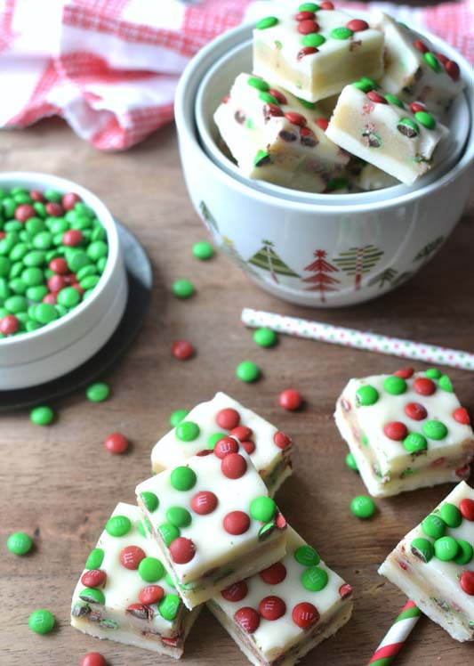 MM Cookie Dough Stuffed Fudge #Christmas #candy #recipes #trendypins