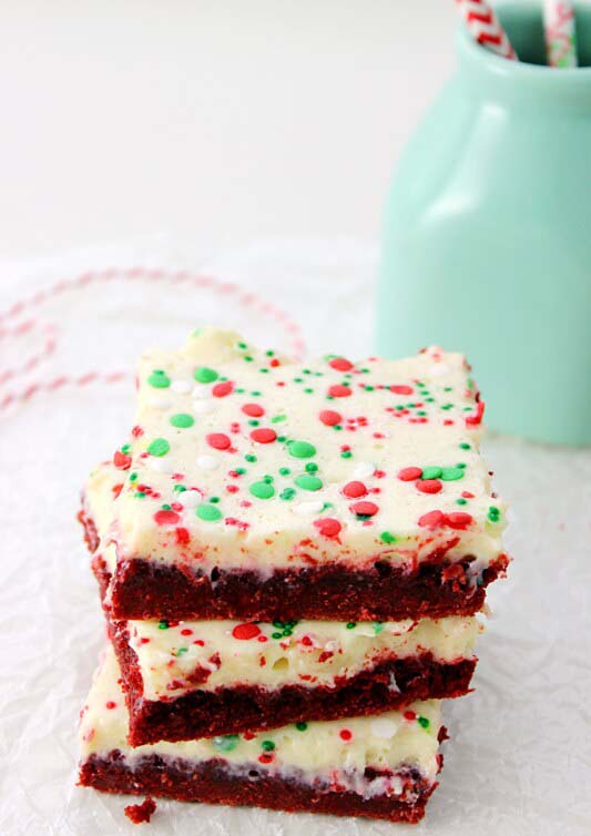 Ooey Gooey Red Velvet Bars #Christmas #cookie #recipes #trendypins