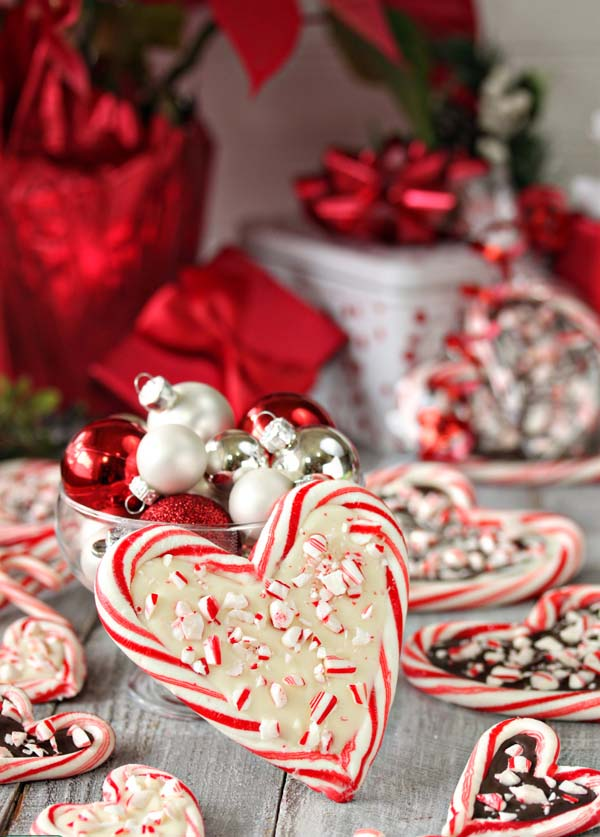 Peppermint Bark Candy Cane Hearts #Christmas #candy #recipes #trendypins