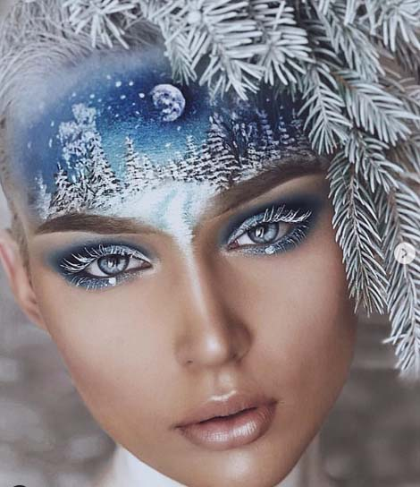 Winter Landscape On The Forehead And Snowy Twigs In The Hair