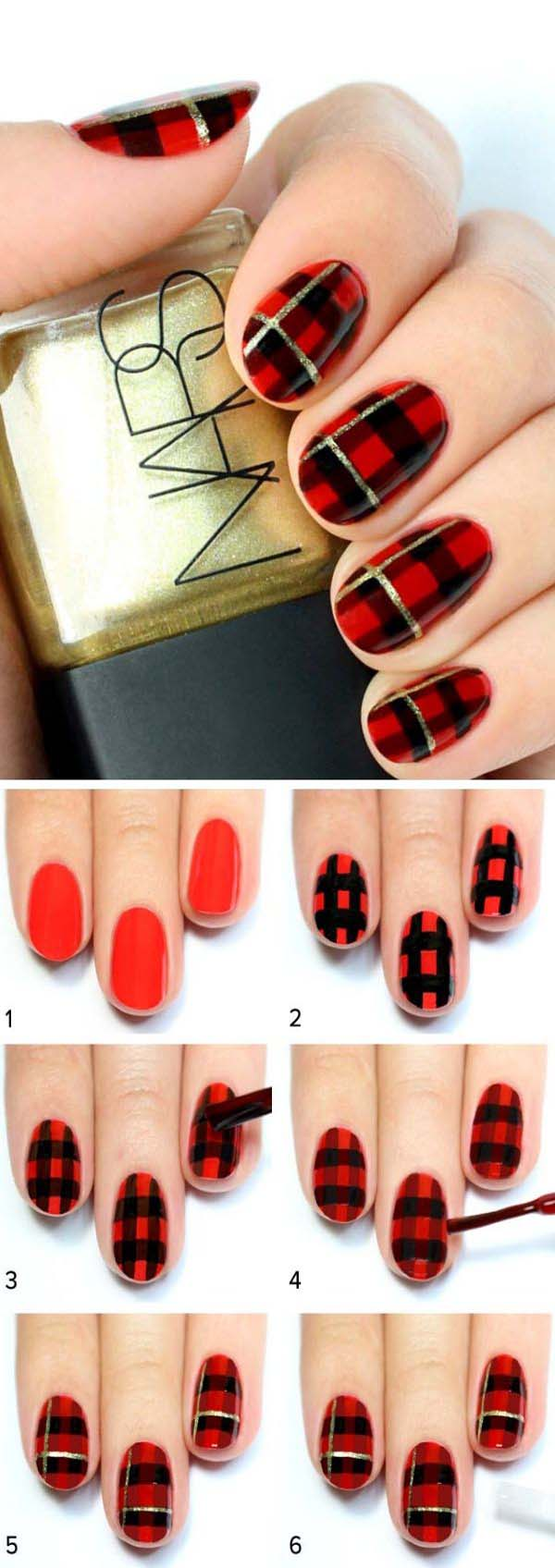 Black and Red Plaid Print Nail #Christmas #nails #tutorials #trendypins