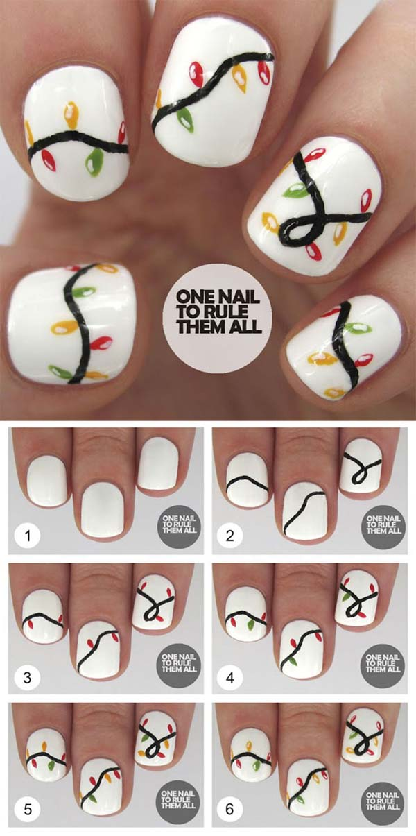 Christmas Lights On Nails #Christmas #nails #tutorials #trendypins