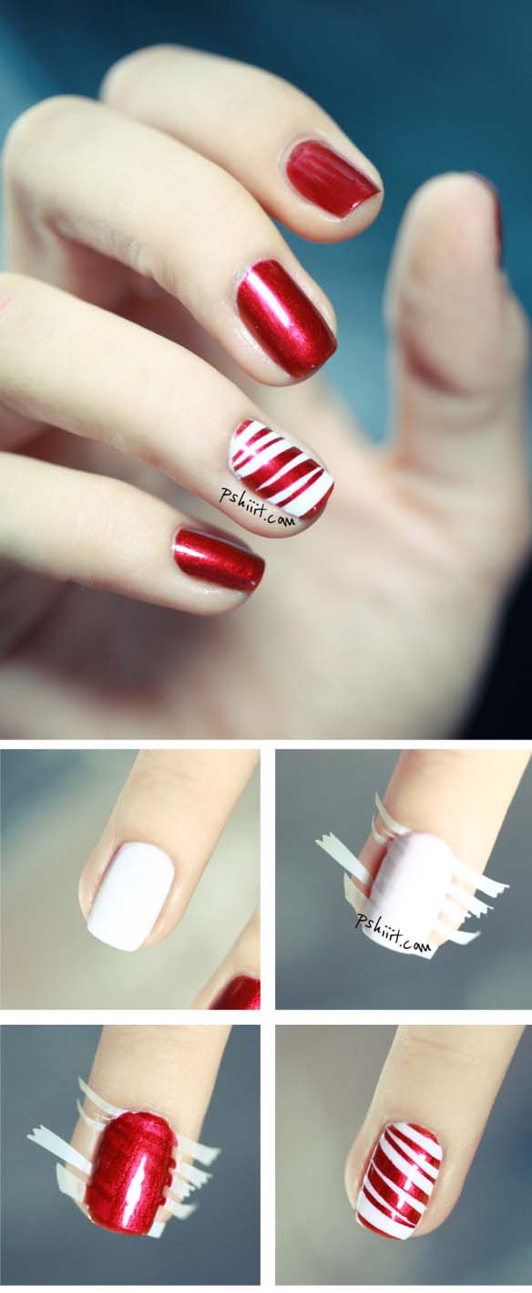 Glitter Candy Cane Nails #Christmas #nails #tutorials #trendypins