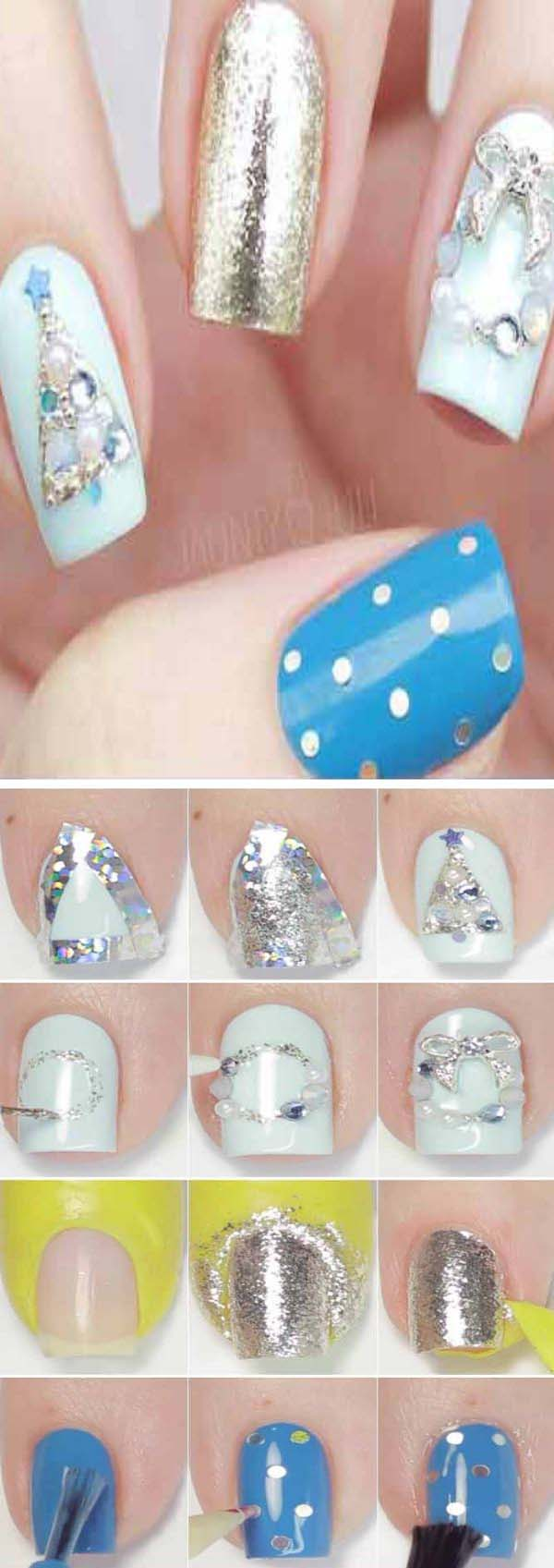 Icy Crystal Christmas Nails #Christmas #nails #tutorials #trendypins