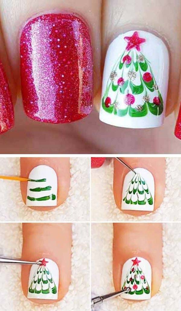 Marble Christmas Tree #Christmas #nails #tutorials #trendypins