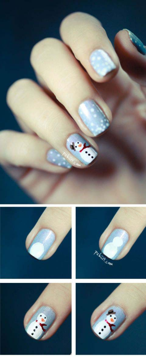Snowy Nails with a Snowman Statement Nail #Christmas #nails #tutorials #trendypins