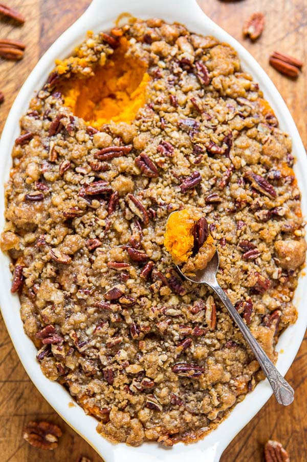 Sweet Potato Casserole with Butter Pecan Crumble Topping #Christmas #recipes #dinner #trendypins