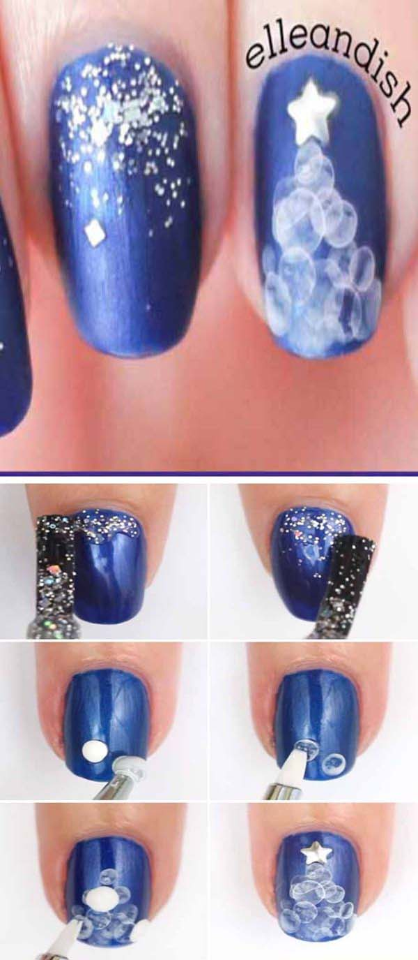 Water Bubble Christmas Tree #Christmas #nails #tutorials #trendypins