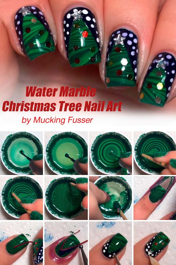 Water Marble Christmas Tree #Christmas #nails #tutorials #trendypins